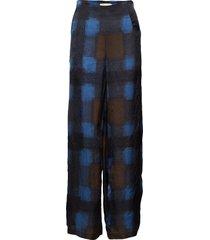 geometric wide leg pant wijde broek blauw rabens sal r