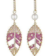eye candy la women's the luxe collection 18k goldplated leaf cz drop earrings