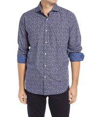 men's bugatchi classic fit floral paisley button-up shirt, size small - blue