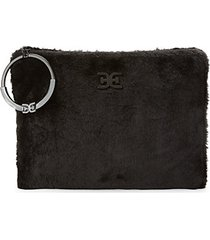 mavis faux fur clutch