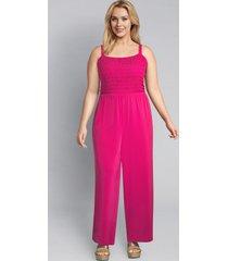 lane bryant women's knit kit shirred jumpsuit 22/24 magenta cosmo