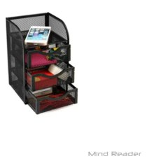 mind reader mini desk supplies office supplies organizer, 3 drawers, 1 top shelf