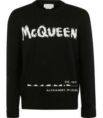 alexander mcqueen rib knit logo sweatshirt