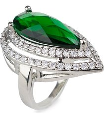 cz by kenneth jay lane women's rhodium-plated & crystal statement pear ring - size 6