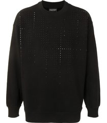 emporio armani stud-embellished drop-shoulder sweatshirt - black