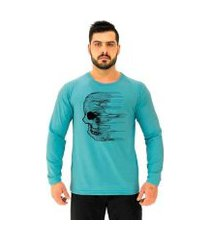 camiseta manga longa moletinho mxd conceito caveira wind masculina