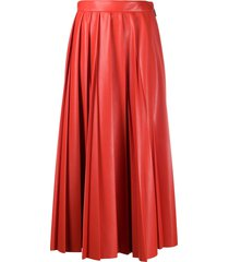 msgm faux-leather pleated skirt - red