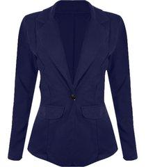 blazer linda d sem forro com botão dourado azul