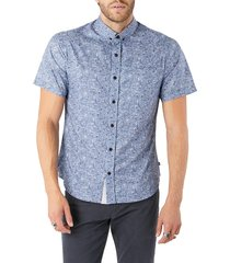 men's 7 diamonds house of love slim fit floral short sleeve button-down shirt, size medium - blue