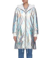 mink hood holographic coat
