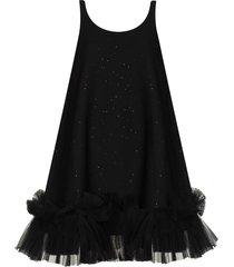 angel chen tulle hem sequinned a-line dress - black