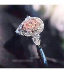 anello luxury big diamonds fashion rosa water drop zircon stone silver engagement ring per le donne