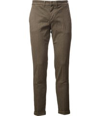fay micro checked trousers