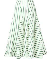rosie assoulin flouncy striped skirt - green
