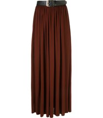pleated midi skirt with belt