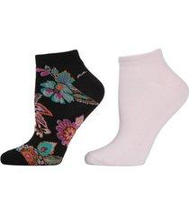 pop floral socks, 2 pair pack, women's, black, josie