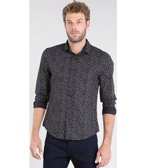 camisa masculina slim estampada floral manga curta preta
