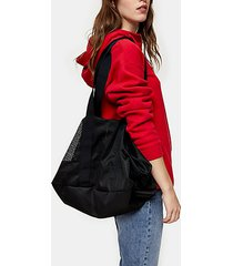 considered mena black mesh recycled polyester tote bag - black
