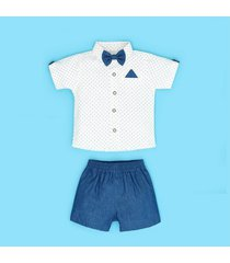 conjunto short chambray