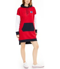 tommy jeans colorblocked logo hoodie dress