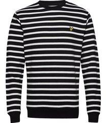 breton stripe sweatshirt sweat-shirt trui zwart lyle & scott