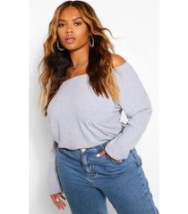 plus off the shoulder knitted sweater, grey