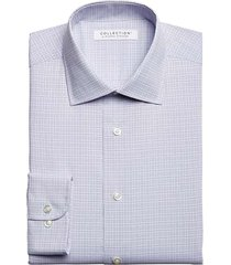 collection by michael strahan men's classic fit dress shirt blue grid - size 18 32/33