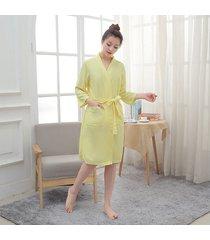 dormir mujeres bolsillos kimono toga ropa interior íntima suelta pijamas