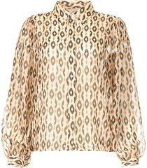 blouse met print pillar  bruin