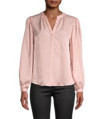 t tahari women's mandarin collar blouse - orchid stain - size s