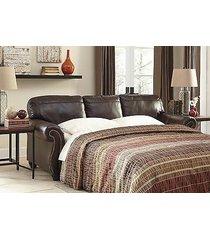 ashley bristan queen sofa slepper top grain leather walnut traditional style