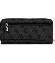 guess women's vikky large zip around wallet - coal