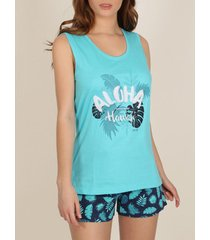 pyjama's / nachthemden admas pyjama shorts tank top palmen turquoise adma's