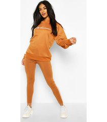 woman hoodie and legging tracksuit, camel