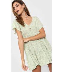vestido verde nano abril flores chiquitas lino