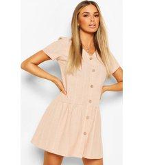 linnen gestreepte gesmokte jurk met knoopjes, roze