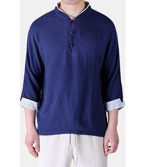 magliette arcaiche sottili estive del collo di v di colore solido di lino del cotone di stile cinese degli uomini