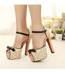 zapatos de sandalias de tacones altos boca de pescado para mujeres- negro