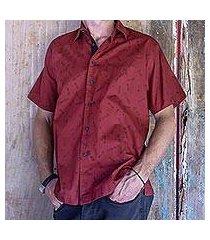 men's cotton shirt, 'crimson dragonfly' (indonesia)
