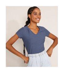 camiseta flamê de algodão básica manga curta decote v azul