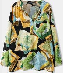 stampa o-collo manica lunga con bottoni plus camicetta tascabile per donna