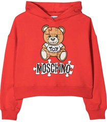 moschino red hoodie with frontal toy and logo press
