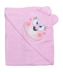toalha de banho rosa com capuz e estampa era uma vez rosa