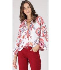 blusa feminina ampla estampada de arabescos manga 7/8 decote v off white