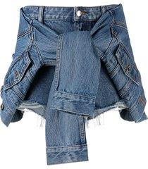 alexander wang tie front denim shorts - blue