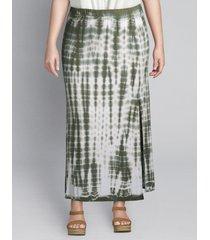 lane bryant women's tie-dye midi skirt 26/28 green tie dye