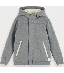 scotch & soda stretch cotton-blend zip-up hoodie