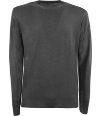 fedeli grey merino wool sweater