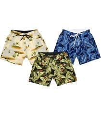 kit 3 shorts praia estampado microfibra com elastano bolsos laterais ref.095