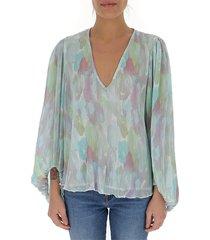 geplooide blouse met v-hals van georgette